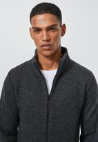Superbalist - Zip through funnel neck knit - charcoal