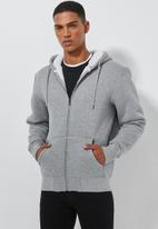 Superbalist - Sherpa lined zip through hoodie - grey