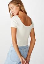 Cotton On - Sweetheart scoop back tee - gardenia