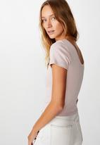 Cotton On - Sweetheart scoop back tee - light purple