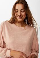 Cotton On - Reid chop blouson long sleeve top - misty rose