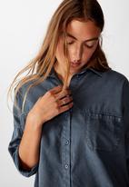 Cotton On - Oversize drop shoulder shirt - washed ebony