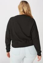 Cotton On - Curve Hayley seam detail boxy crew - washed black