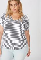 Cotton On - Curve Karly short sleeve tee essie stripe - white & charcoal
