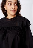 Cotton On - Curve smock lace blouse - black