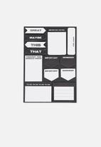 Typo - A5 shaped sticky note - black & white