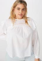 Cotton On - Curve smock lace blouse - white