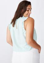 Cotton On - Curve sunny days sleeveless frill tank - washed blue