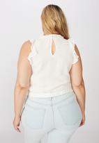 Cotton On - Curve sunny days sleeveless frill tank - white