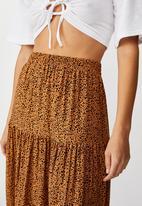 Cotton On - Jasmine maxi skirt natalie spot - brown & black