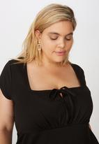 Cotton On - Curve Yasmine gathered short sleeve mini dress - black