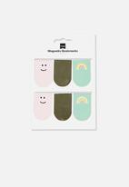 Typo - 6 pack magnetic bookmark - faces & rainbows