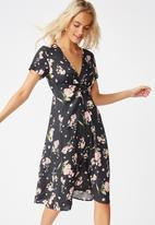 Cotton On - Woven issa gathered front midi dress naomi floral - multi