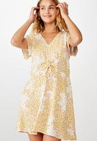 Cotton On - Woven Marissa gathered front mini dress - yellow & white