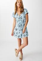 Cotton On - Woven juliette short sleeve mini dress sophie floral - blue & navy