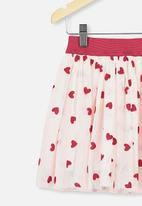 Cotton On - Trixiebelle tulle skirt - crystal pink hearts