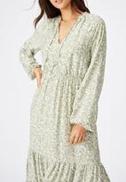 Cotton On - Woven Michelle long sleeve maxi dress Blair floral paisley - tea