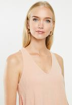 MANGO - Ribbed strap T-shirt - pink