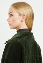 ONLY - Bitten cord button jacket - forest green