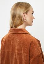 ONLY - Bitten cord button jacket - brown