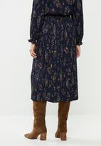 ONLY - Faith midi plisse skirt - navy