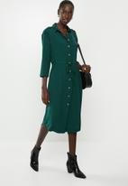 Vero Moda - Catrin calf shirt dress - green