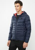 Jack & Jones - Bomb puffer hoodie jacket - navy