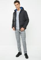Jack & Jones - Knight puffer hoodie jacket - black