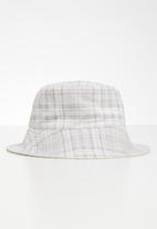 Rubi - Elly reversible wide brim bucket hat  - ecru check