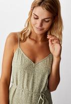 Cotton On - Woven Vicky v-neck jumpsuit natalie spot - khaki & white