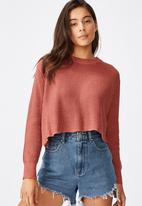 Cotton On - Archy cropped 2 pullover marsala twist - canyon rose