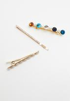Superbalist - 3 pack embellished hair slide set - multi