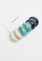 Superbalist - 3 Pack resin hoop earrings - multi