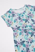 POP CANDY - Girls 2 pack floral T-shirt dress - blue/grey