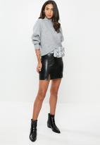 VELVET - Pleather mini skirt - black