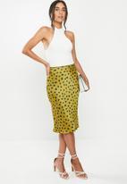 VELVET - Satin bias cut slip skirt -  chartreuse
