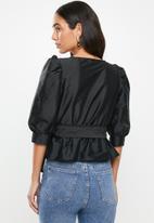 VELVET - Wrap blouse with belt - black