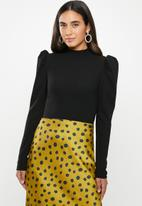 VELVET - Puff sleeve crop top - black