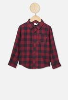 Cotton On - Rugged long sleeve shirt - burgundy & black