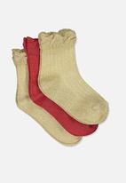 Cotton On - Kids 3 pack fashion crew socks - gold & red