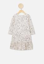 Cotton On - Joss long sleeve dress - grey & cream