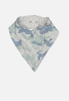 Cotton On - The kerchief bib - cloud marle & stone green camo