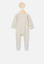 Cotton On - The long sleeve zip romper - grey & yellow