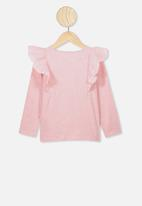 Cotton On - Sheri long sleeve frill top - pink