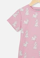 Cotton On - Lux short sleeve tee - pink & white