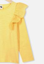 Cotton On - Sheri long sleeve frill top - yellow