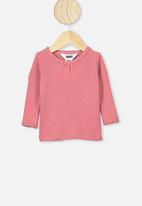 Cotton On - Mich long sleeve pointelle top - pink