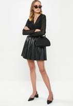 MILLA - Pu mini skirt - black