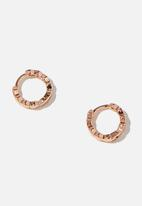 Rubi - Ear party plain huggie hoops - rose gold