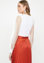 MILLA - Plunge combo bodysuit - ivory